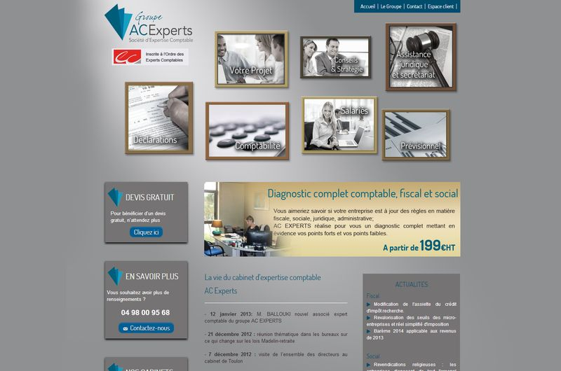 Site Netinup pour le groupe ACExperts