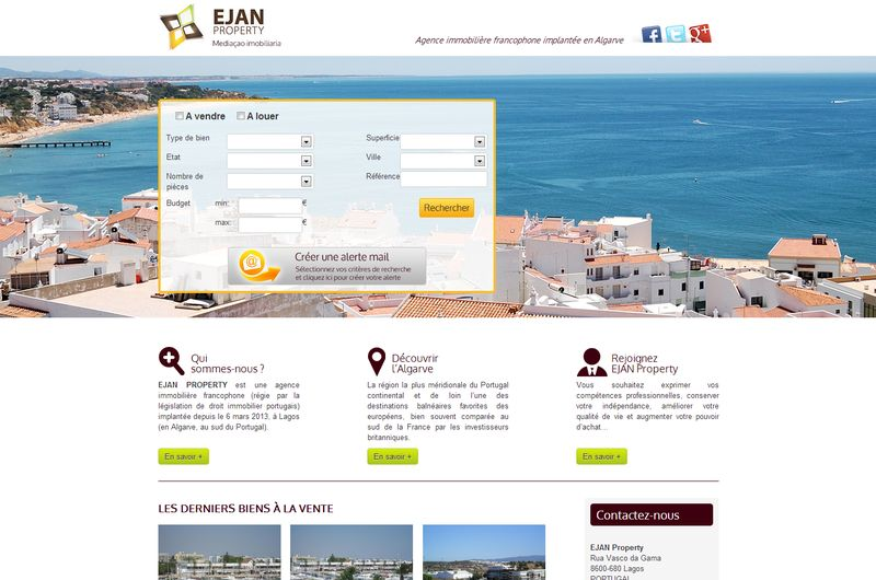 Conception de site Netinup pour Ejan Property